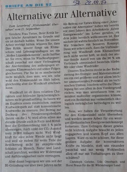 """Zum Leserbrief """"Klimawandel übersehen"""""""