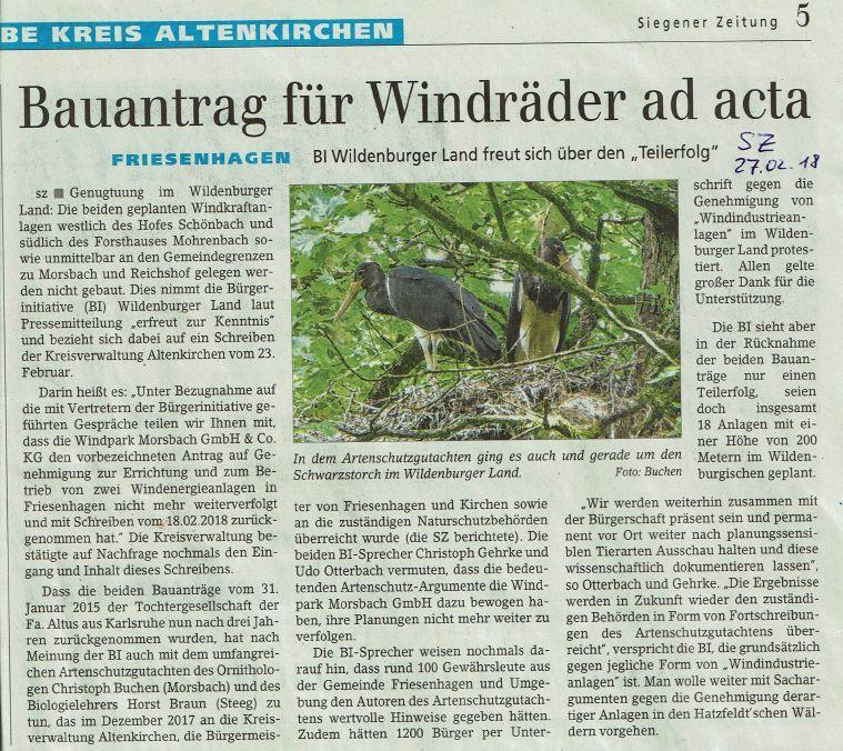 Bauantrag für Windräder ad acta SZ 180227